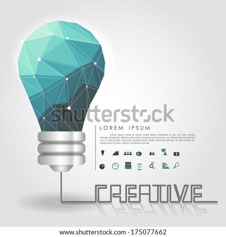 polygon idea light bulb with