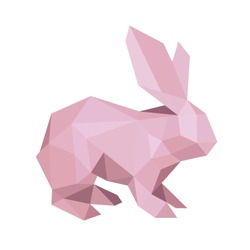 Polygon logo rabbit with ears sitting vector sign pro illustration drawn under any size