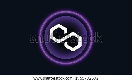 Polygon logo with crypto currency themed circle black background design. Modern purple neon color banner for Matic token icon. Polygon Cryptocurrency Ethereum Blockchain technology concept.