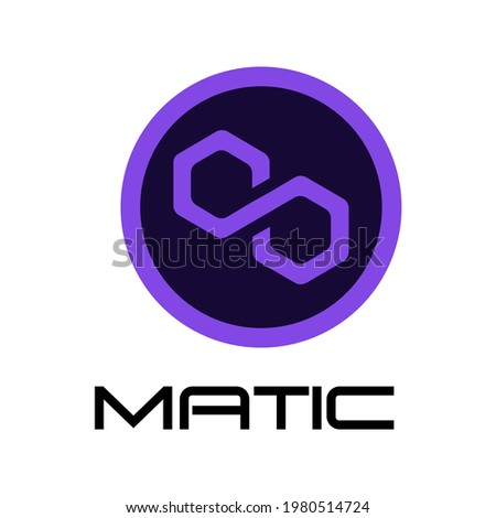 Polygon MATIC token new symbol of the DeFi project cryptocurrency logo, decentralized finance coin icon isolated on white background. Vector illustration.  Foto stock ©