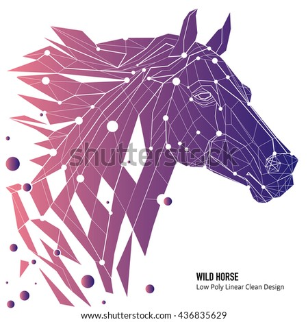 Vector Horse With Butterflies Polygon Outline Illustration Of A Head Geometrical Triangles Low Poly Wire Construction Concept