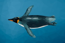 Polygon penguin swimming underwater. Low poly design. Abstract polygonal background.