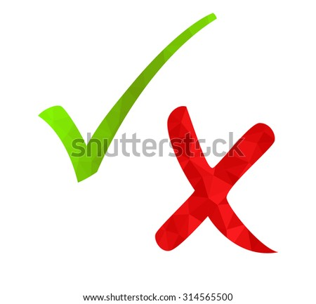 Polygon style green check mark and red cross isolated on white background. Modern geometric design for yes and no answers. Vote signs.