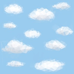Polygon triangle background with sky and cloud