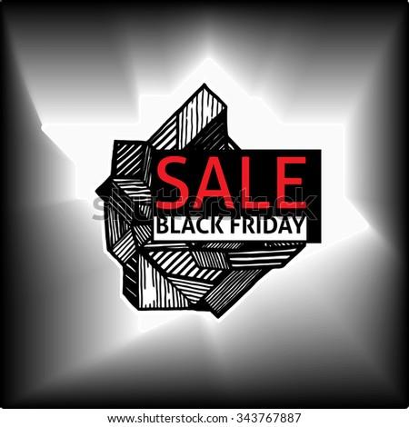 Polygon vector banner - Black Friday sale in the art sketch art doodle.