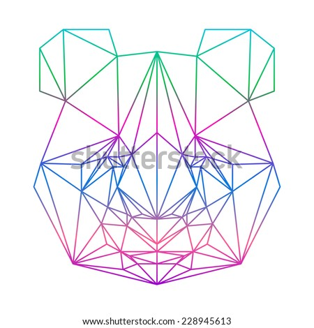 Polygonal abstract panda bear silhouette drawn in one continuous gradient line isolated on white background for card, t-shirt, invitation, book, placard, scrapbook, album etc. Nature, wildlife, animal