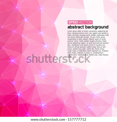 Polygonal abstract pink background for business presentation