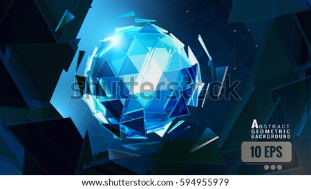 Polygonal abstract triangular sphere combine on low poly shatter background graphic template