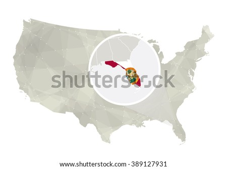 America Flag On Florida Map Vector Download Free Vector Art - Gray map us