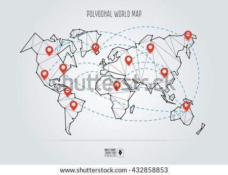 World map vector with pointers download free vector art stock polygonal abstract world map vector illustration abstract global connection structure continents connected with gumiabroncs Gallery