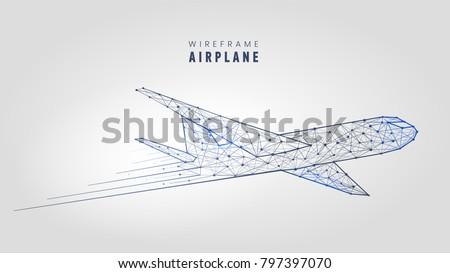 polygonal airplane  wireframe...