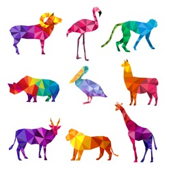 Polygonal animals. Low poly zoo silhouettes of animals triangular geometric shapes patterns vector origami collection