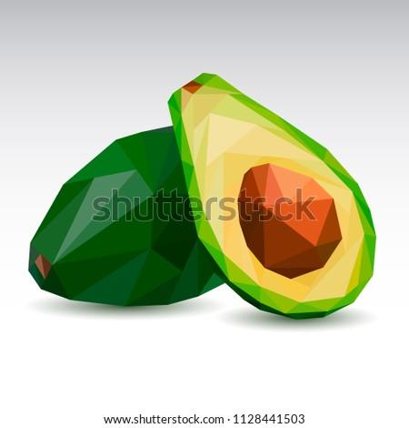 Polygonal avocado. Low poly. Vector illustration.