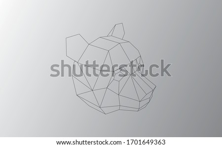 polygonal black abstract panda vector illustration. Web design page icon element.