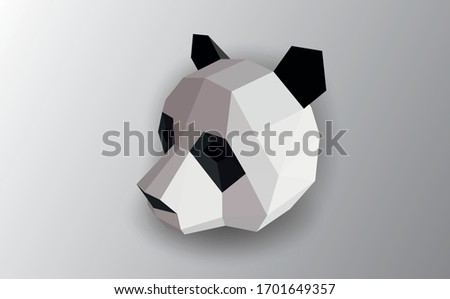 polygonal black and white abstract panda vector illustration. Web design page icon element.