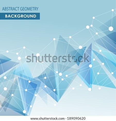 Polygonal blue background. Abstract molecular connection vector concept