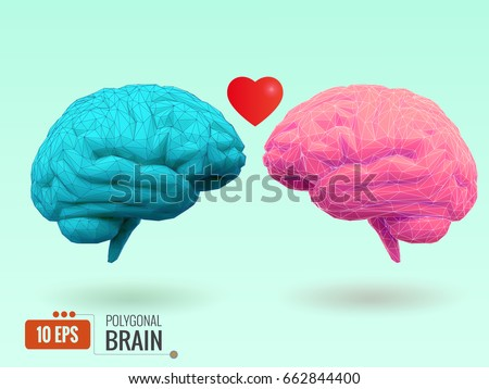 polygonal blue brain and pink