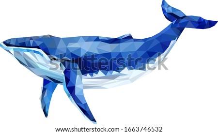 Polygonal blue whale. Save earth. Whale Triangle Geometric Illustration