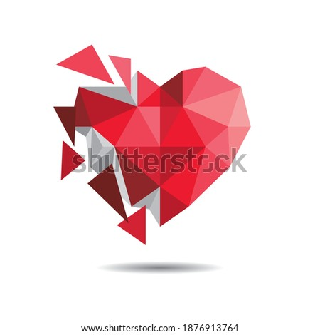 Polygonal broken heart and white background. Stock photo ©