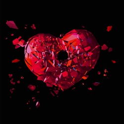 Polygonal broken heart with shot hole in action on dark background