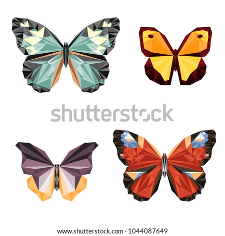 Polygonal butterfly on white background