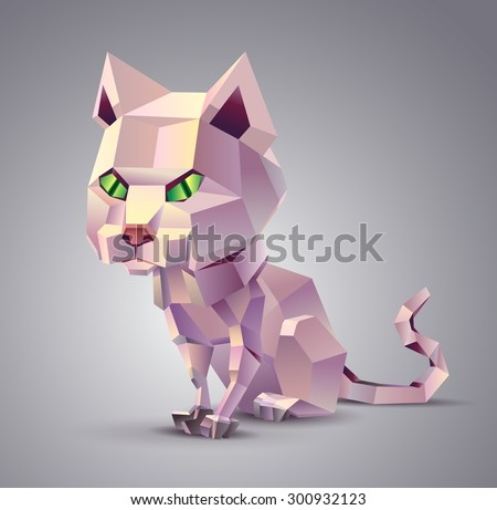 polygonal cat sitting on a grey