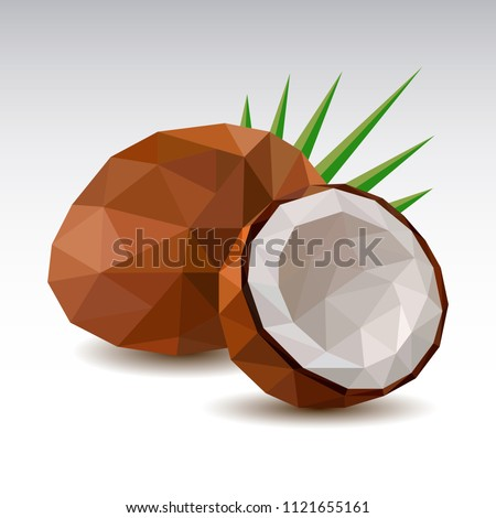 Polygonal Coconut. Low poly. Vector illustration.