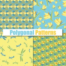 Polygonal color patterns set with origami flowers, birds and dragonfly