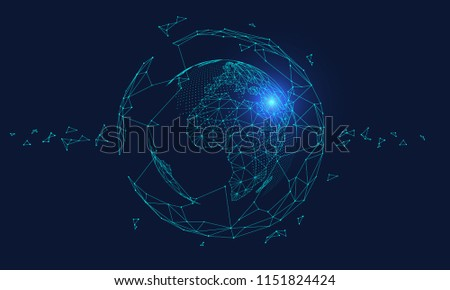 Polygonal connected technology internet big data background illustration, artificial intelligence