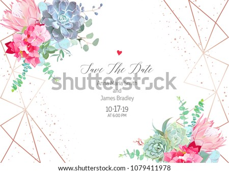 Polygonal floral vector design frame with glitter. Pink hydrangea, protea, blue echeveria succulent, eucalyptus, greenery. Wedding horizontal card. Gold line art.All elements are isolated and editable