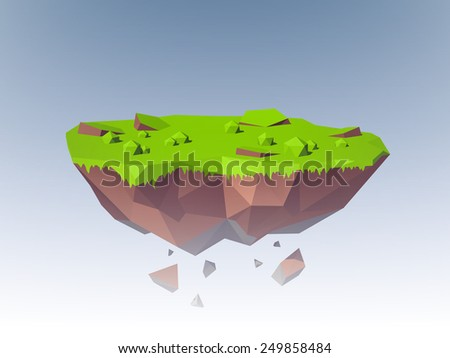 polygonal flying island fantasy