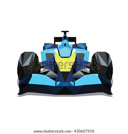 polygonal formula car colorful