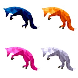 polygonal fox nature art