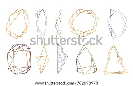 polygonal frames set. Gold, silver, black glitter triangles, geometric shapes. Diamond shape. Minimal template for creative designs, card, invitation,