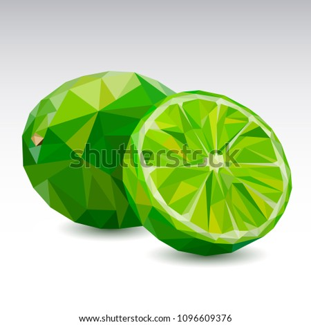 Polygonal fruit - Lime. Low poly. Vector illustration.