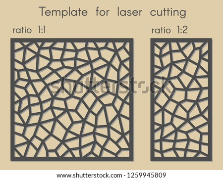 Polygonal geometric background for cut. Stencil for panels of wood, metal. Template for laser cutting. Vector illustration. Decorative cards. Ratio 1:1, 1:2.