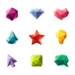 Polygonal geometric figures. Set of design elements