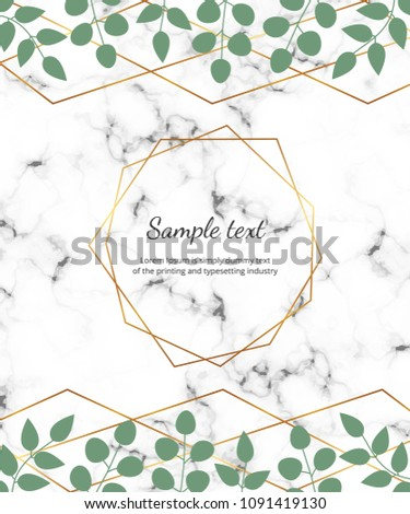 Polygonal geometric frame, golden lines with leaves eucalyptus on the marble texture. Botanical design template for wedding, invitation, save the date, banner, poster, card, placard, flyer, invite