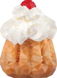 Polygonal geometric mosaic cupcake cream muffin. Vector illustration