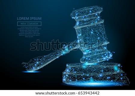 Polygonal Hammer of a judge. Vector mesh spheres from flying debris. Thin line concept. Blue structure style illustration