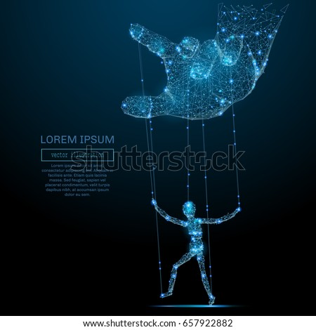 Polygonal hand and puppet. Vector mesh spheres from flying debris. Thin line business or political concept. Blue structure style illustration