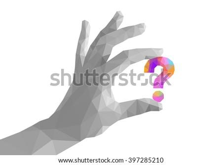 Polygonal Hand Fingers Divorced Monochrome Keeps Question Mark
