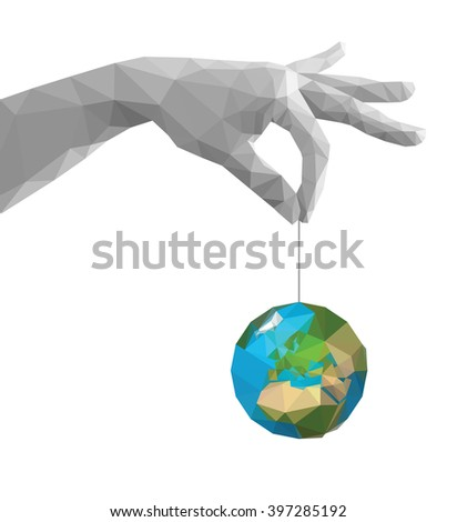 polygonal hand pinch fingers
