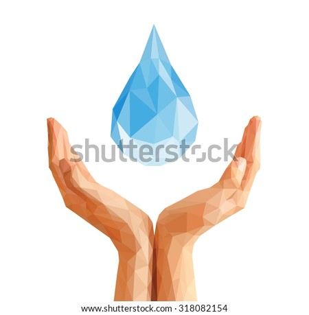 polygonal hands cupped support