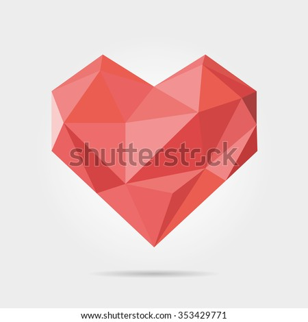 polygonal heart in vector
