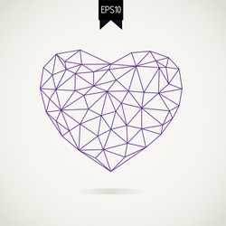 Polygonal heart on white backdrop with shadow. Vector Illustration. Abstract polygonal heart. Love symbol.  Low poly style