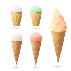 Polygonal ice cream. Vector illustration