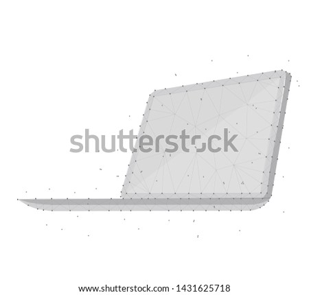 Polygonal Illustration of laptop, 3D, isometric, consisting of polygons, dots and lines. Low poly polygon design, isolated on blue background with stars.  Technology illustration. Wireframe concept.