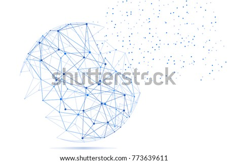Polygonal isolated on white background. For web site, wallpaper, poster, placard, ad, cover and print materials. Creative art, modern abstract concept