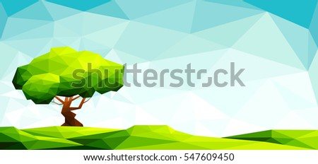 polygonal landscape with lawn